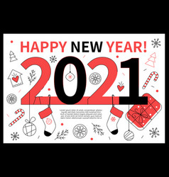 happy new year 2021 - line design style web banner vector image