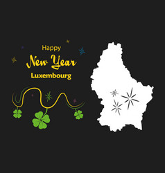 Happy new year theme with map of luxembourg vector