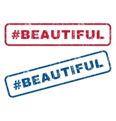 Hashtag Beautiful Rubber Stamps vector