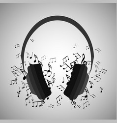 headphones with musical notes vector image