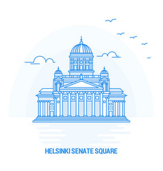Helsinki senate square blue landmark creative vector