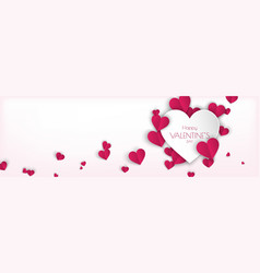 horizontal background design with pink hearts vector image