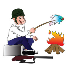 Hunter cooking fish vector