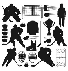 Ice hockey sport icons game equipment players vector