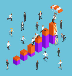 isometric business people competing to reach the vector image