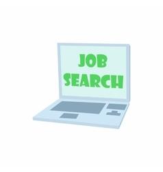 Job search on laptop icon cartoon style vector