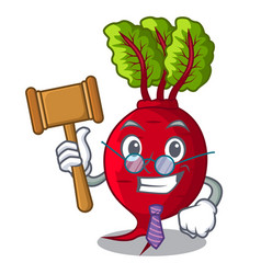 Judge whole beetroots with green leaves cartoon vector