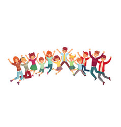 Jumping kids excited children jump vector