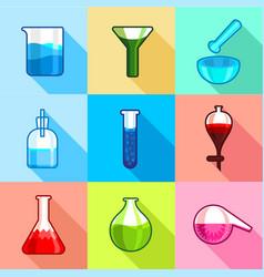 laboratory flask icons set flat style vector image