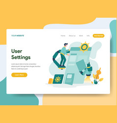 landing page template user settings concept vector image