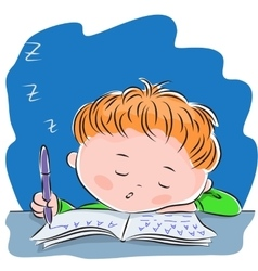 Little boy fell asleep while doing homework vector