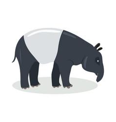 Malayan tapir cartoon icon in flat design vector