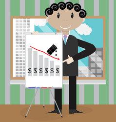 Man presentation oil fall crisis vector