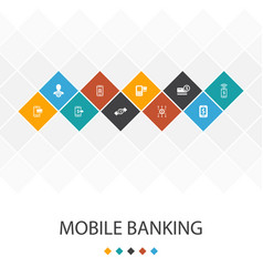 Mobile banking trendy ui template infographics vector
