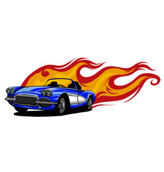 Muscle car with flames crazy race vector