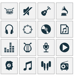 Music icons set collection of cd music vector