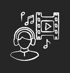 Music supervisor chalk white icon on black vector