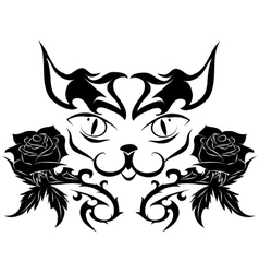 muzzle of a cat with roses - tattoo vector image