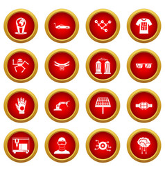 New technologies icon red circle set vector
