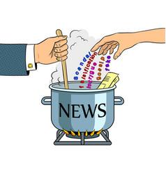 News production metaphor pop art vector