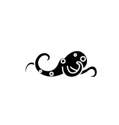 octopus black icon sign on isolated vector image