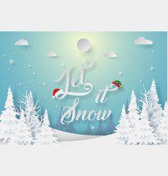 origami paper art winter season let it snow vector image