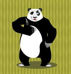 Panda thumb up and winks Chinese bear all good vector