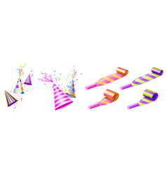 Party hats and horn blowers with color stripes vector
