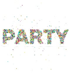 Party word consisting of colored particles vector