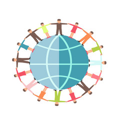 people on earth globe hand in hands symbol for vector image