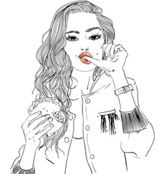 Portrait of young woman portrait with burger vector