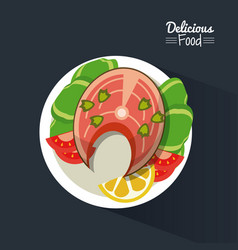 poster delicious food in black background with vector image