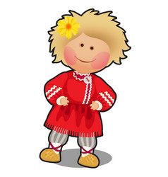 Rag doll in the form of a boy in russian folk vector