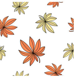 red leaves autumn seamless pattern color vector image