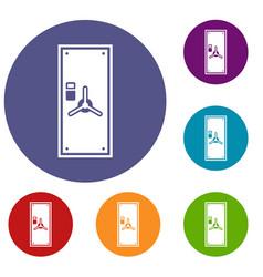 Safe door icons set vector