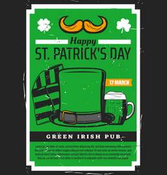 saint patrick day irish beer pub leprechaun hat vector image