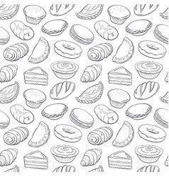 seamless hand drawn doodle set with bakery vector image