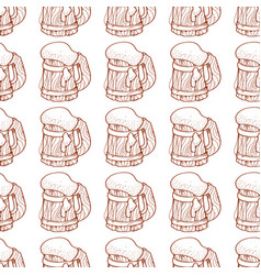 Seamless pattern with a mug of foamy beer vector