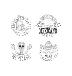 set 4 logos for restaurants mexican vector image