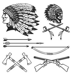 set native american indians chiefs heads vector image