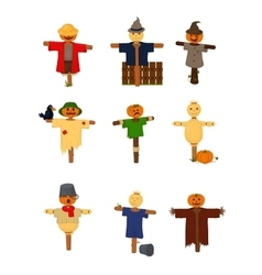 Set of cartoon style scarecrow isolated vector image