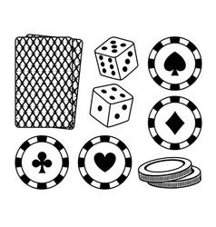 set of casino elements vector image