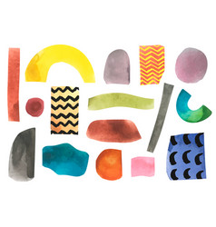 Set with paper cut pieces collage set vector