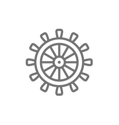 ship steering wheel rudder helm line icon vector image