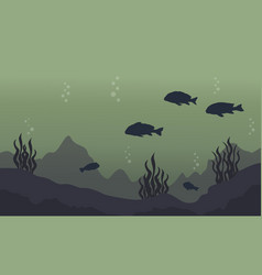 Silhouette of fish on underwater landscape vector
