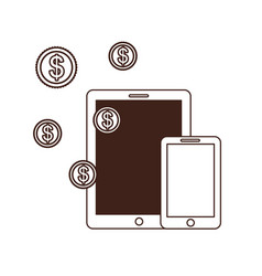Smartphone with money around in white background vector