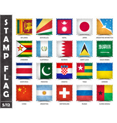 Stamp with official country flag set 5 12 vector