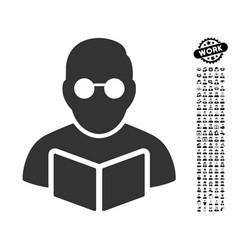 student reading book icon with job bonus vector image