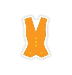 Stylish paper sticker on white background vest vector