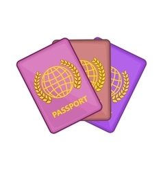 Three passports icon cartoon style vector
